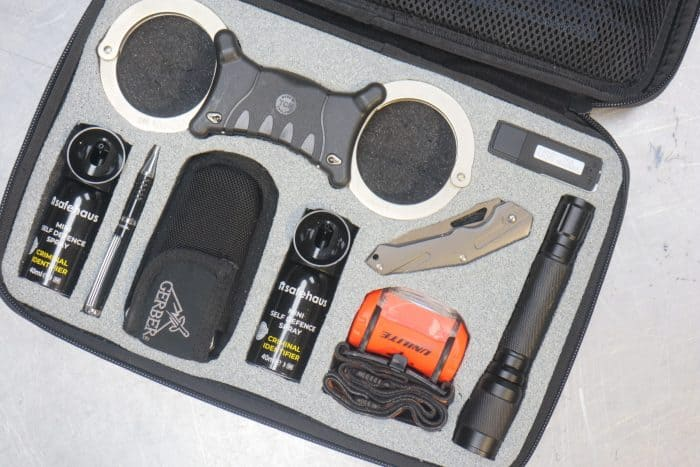 This picture shows a number of security, detain and stop tools - designed to stop burglars and detain them until the police arrive. The tools are placed in a foam, called shadow foam original. This to allow for organisation and no moving parts in this security case.