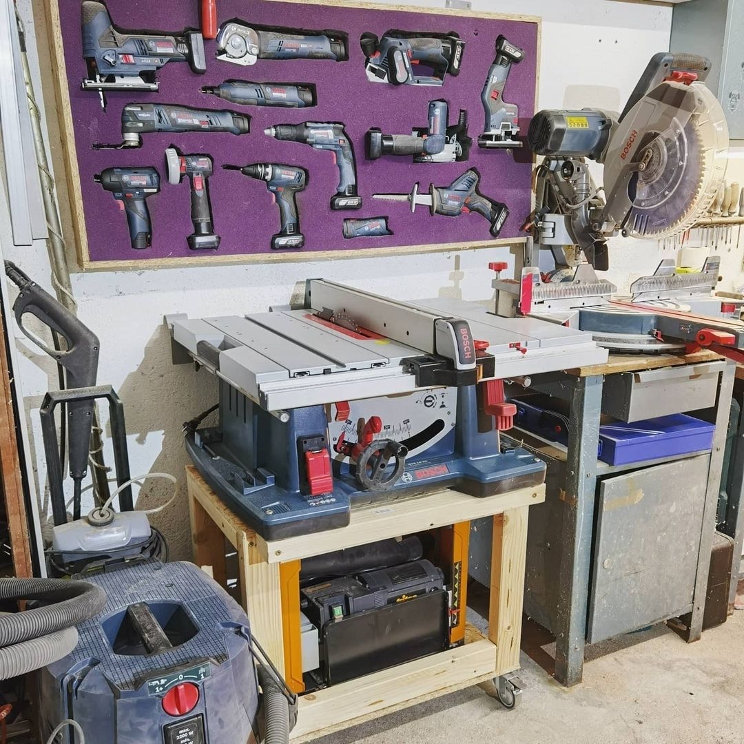 The picture contains a workshop but with shadow foam original acting as a tool wall storage. The power tool wall is the colour purple, one of many colours shadow foam provides the foam in, and the tools that are perfectly placed on the wall are Bosch power tools.