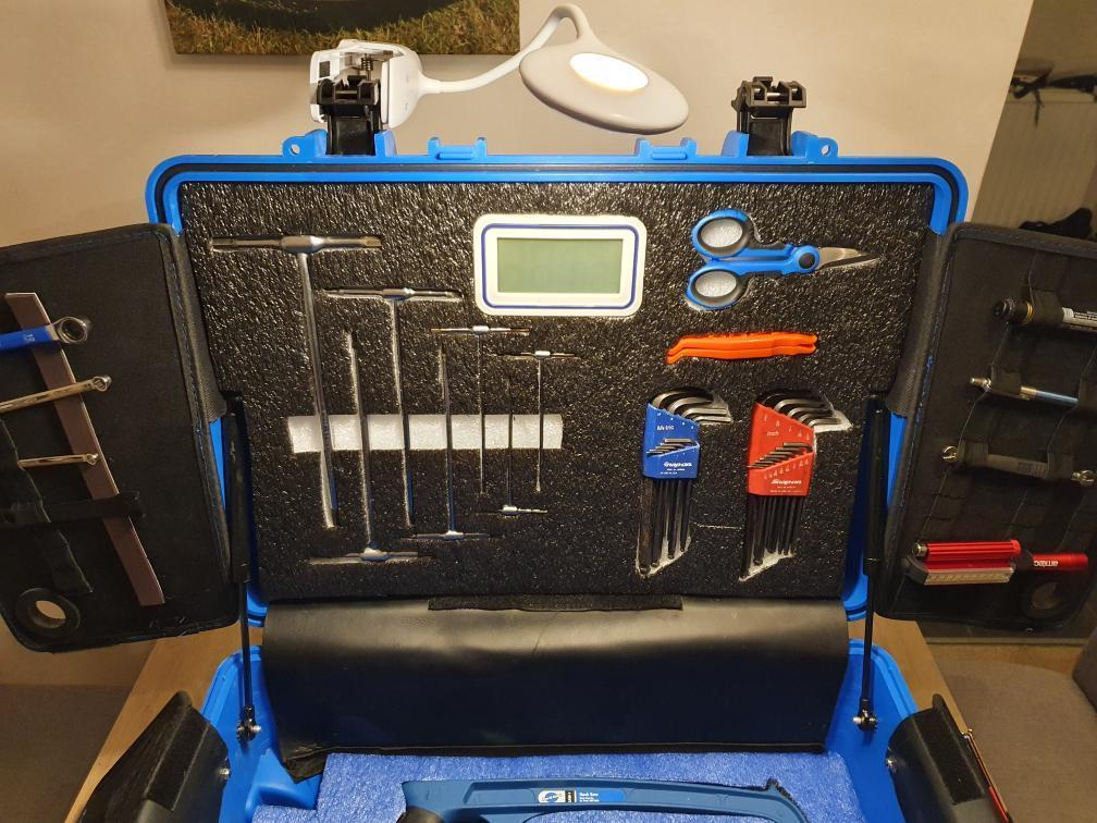 The picture shows the top lid of the tool box. The tool box is blue whilst using our shadow foam original, this product allows for users to cut out tool placement in the foam for a more aesthetically pleasing look, but also a perfect organiser for those who work with tools day in day out, especially for BMX mechanics - for this post.