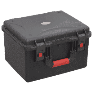 High-impact injection moulded water-resistant case for the safe storage of technician's instruments, photographic equipment, musical instruments, laptops and other high value items.