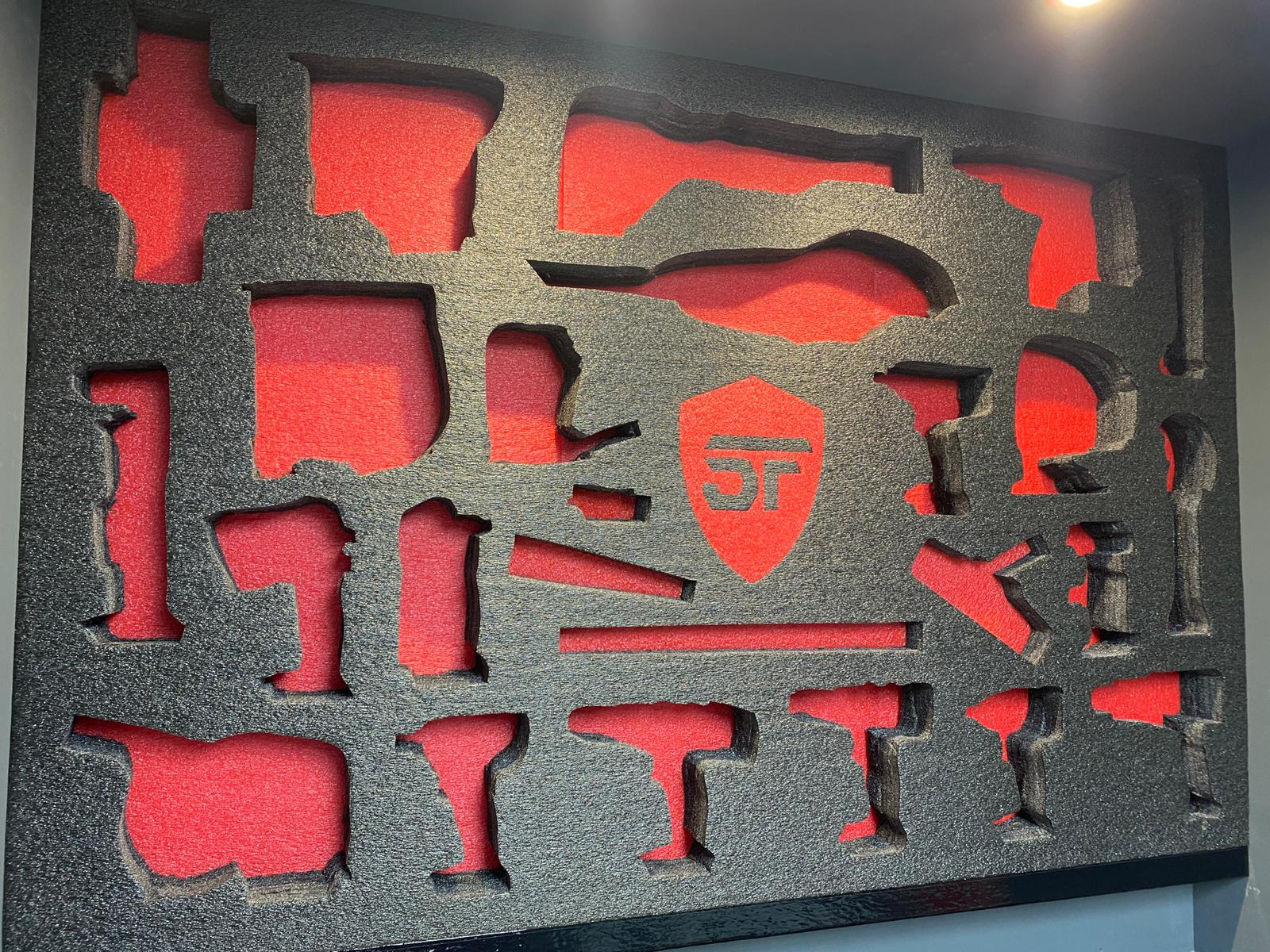 the empty tool wall showing the layout with contrasting red foam behind the grey face of the foam