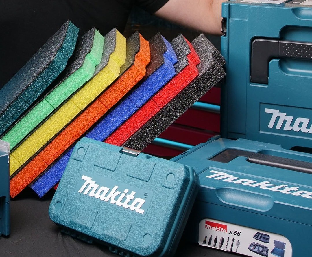 The range of 7 colours for our makita makpac inserts - the new teal complementing the colour of the makita makpac organiser box
